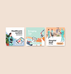 Advertising template with healthcare and hospital vector