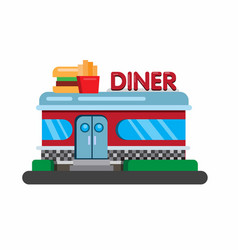 american fast food restaurant diner building flat vector image