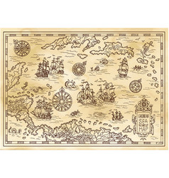 Ancient pirate map of the caribbean sea vector