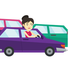 angry asian woman in car stuck in traffic jam vector image vector image
