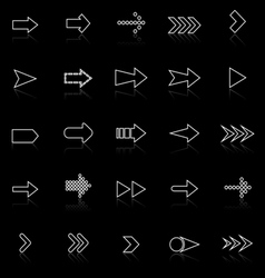 Arrow line icons with reflect on black vector
