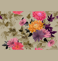 Art floral seamless pattern autumn flowers vector