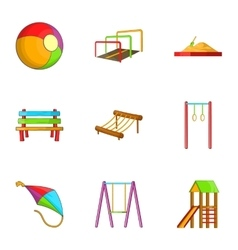 Attractions for children icons set cartoon style vector