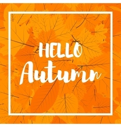 Autumn new season hello Lettering with hand drawn vector image