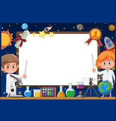 banner template with two girls in science gown vector image