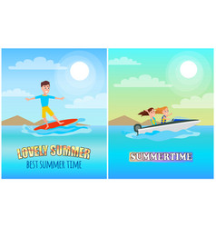 best summer time color poster vector image