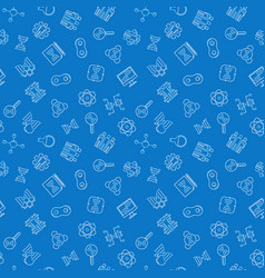 Biotechnology blue seamless pattern in thin vector