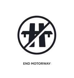 Black end motorway isolated icon simple element vector