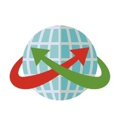 Blue sphere world with crossed arrow around vector