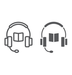 book with headphones line and glyph icon vector image