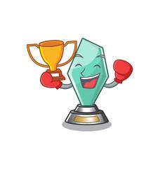 Boxing winner acrylic trophy stored in cartoon vector