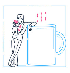 businessman on a coffee break - line design style vector image