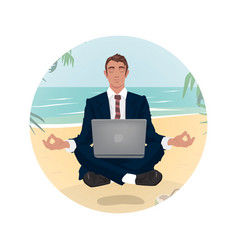 Businessmant hovering in lotus pose on beach vector