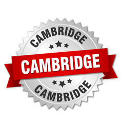 Cambridge round silver badge with red ribbon vector