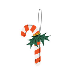 candy cane christmas tree toy new year bright vector image