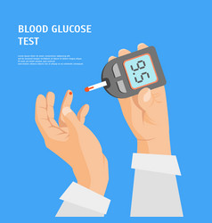 cartoon diabetes concept human hands holding vector image
