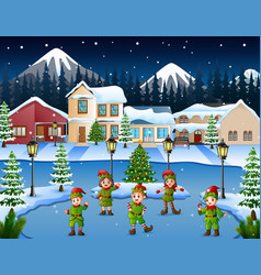 Cartoon of kid group wearing elf costume dancing i vector