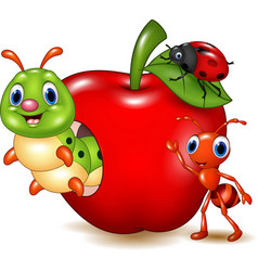 Cartoon small animals with red apple vector
