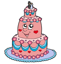 cartoon wedding cake vector image