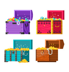 chests with gold coins and jewelry money vector image