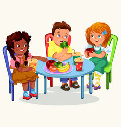 classmates having lunch in dining room vector image