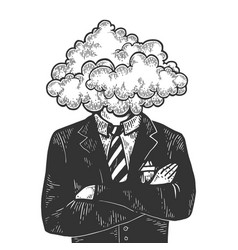 cloud head businessman sketch engraving vector image