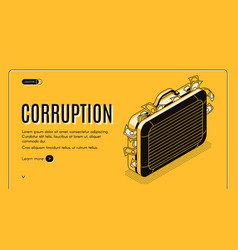 corruption isometric landing page template vector image
