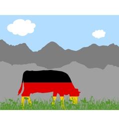 Cow alp and german flag vector