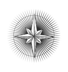 Creative star with rays and a round frame boho vector