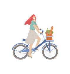 cute girl ride a city bike with product basket vector image
