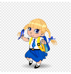 Cute little blonde schoolgirl with braids and big vector