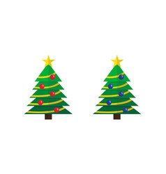 decorated christmas trees with star and balls set vector image
