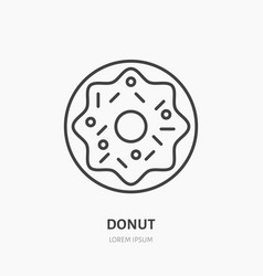 Donut flat logo line icon sweet food vector