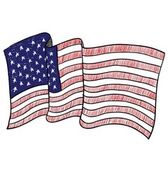 doodle flag usa america vector image