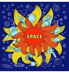 Doodle space color elements vector