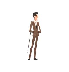 Elegant victorian gentleman character in suit vector