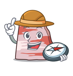 Explorer pork lard mascot cartoon vector