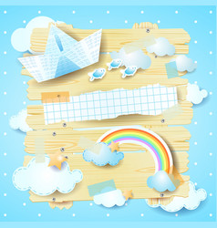 fantasy panel with paper boat and rainbow vector image