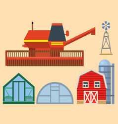 farm harvesting greenhouse equipment vector image