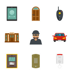 Finance security icon set flat style vector