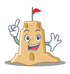 Finger sandcastle character cartoon style vector