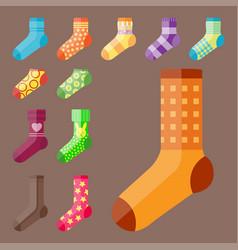 Flat design colorful socks set vector