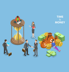 flat isometric concept of time is money vector image