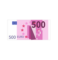 Flat simple five hundred euro banknote on white vector