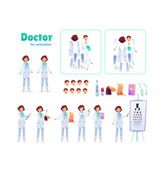 flat woman doctor animation creation set vector image