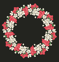 floral round pattern on black background vector image