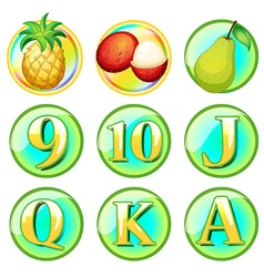 Fresh fruits and letters on round badges vector image vector image