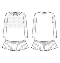 Front and back view a cute dress vector