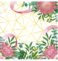 Geometric background with protea flowers and vector