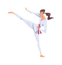 Girl karateka doing powerful kick karate fighter vector